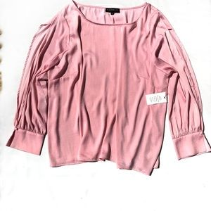 Pink Split Blouson Sleeve Round Neck Blouse Cuffed
